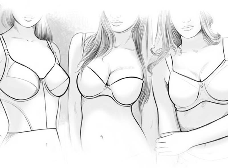 Как нарисовать грудь в купальнике